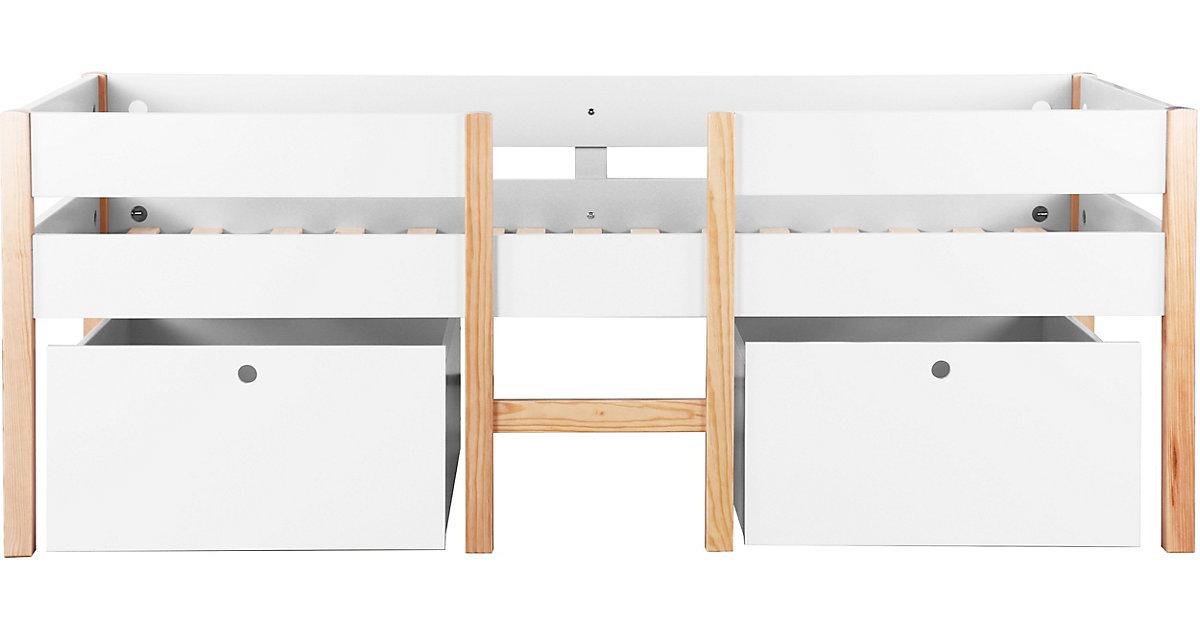 Hochbett mit Leiter und 2 Schubladen, inkl. Lattenrost, weiß / natur, 210 x 80 x 99 cm braun/weiß Gr. 90 x 200