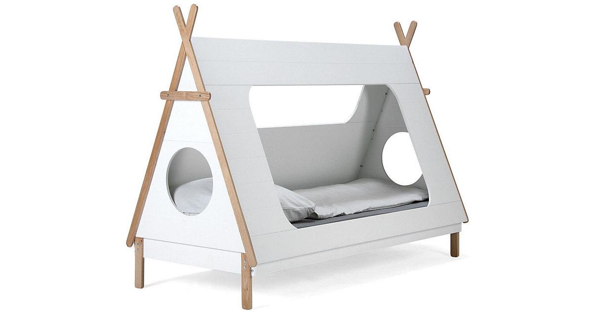 Bett in Form eines Tipis, inkl. Lattenrost, weiß / natur, 105 x165 x 215 cm braun/weiß Gr. 90 x 200