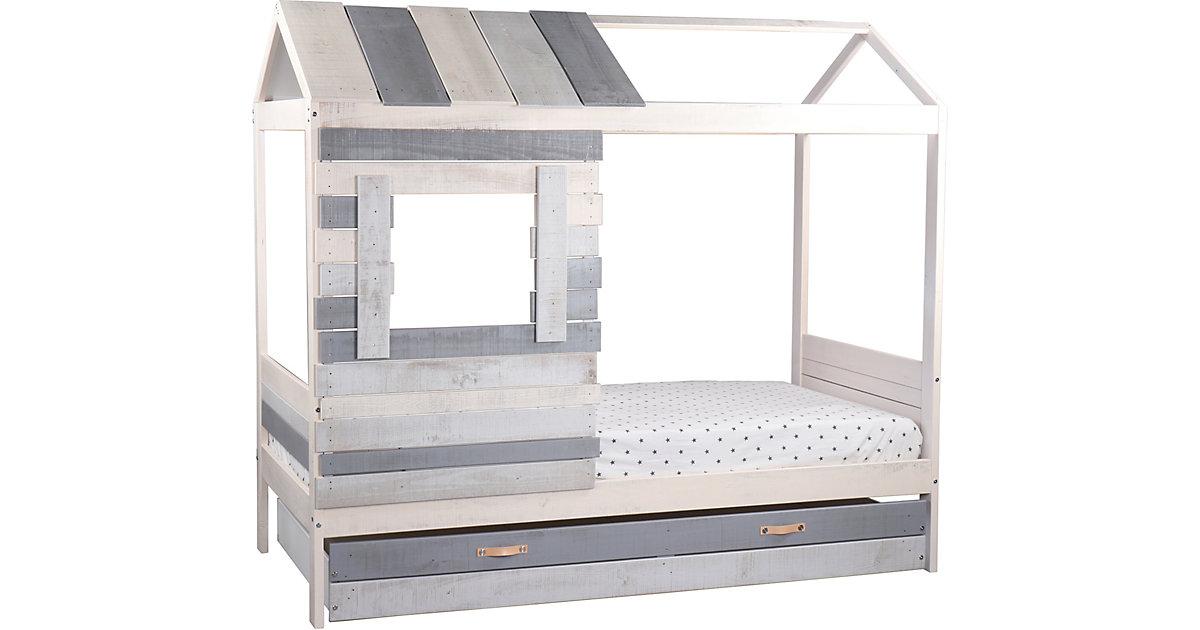 Bett in Form eines Hauses, inkl. Lattenrost, weiß/ grau, 102 x 182 x 206 cm grau/weiß Gr. 90 x 200