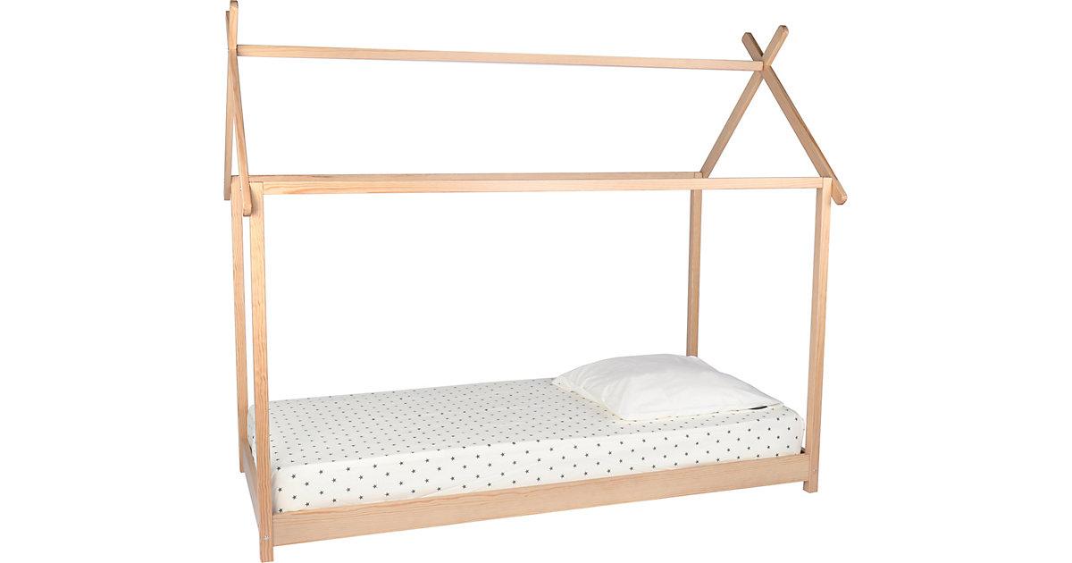 Bett in Form eines Hauses, inkl. Lattenrost, natur/ weiß, 109 x 180 x 213 cm Gr. 90 x 200