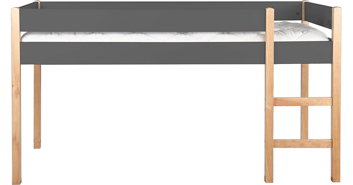 Hochbett mit Leiter, inkl. Lattenrost, grau / natur, 99 x 218 x 210 cm natur/grau Gr. 90 x 200