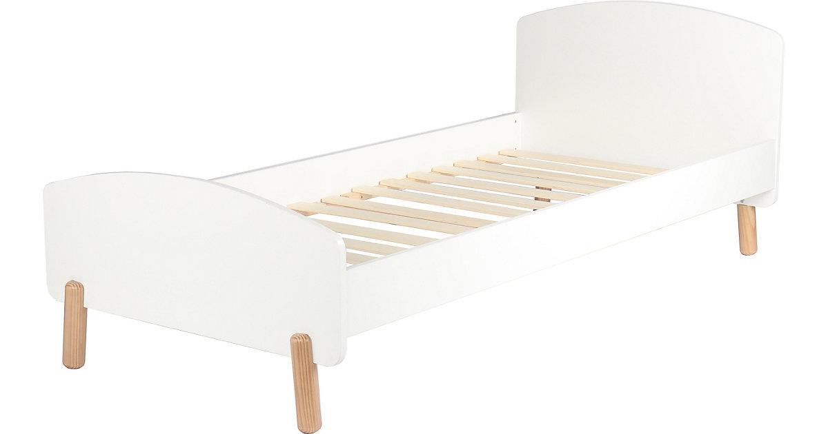 Kinderbett inkl. Lattenrost, weiß / natur 95 x 210 x 76 cm braun/weiß Gr. 90 x 200