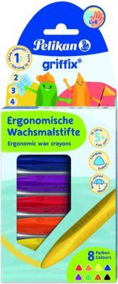 griffix Wachsmalstifte ergonomisch Dreikant, 8 Farben bunt