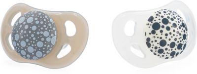 Schnuller, Pastel Grey & White, 2-tlg. grau/weiß