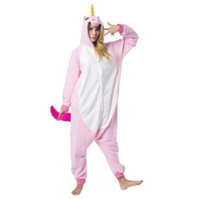 Jumpsuit, Onesie Erwachsene, Einhörner rosa, weiß rosa/weiß Gr. 52/54  Kinder