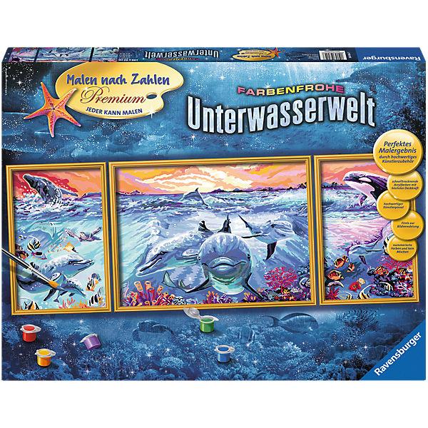 Malen Nach Zahlen Premium Triptychon 100x40 Cm Mit Bilderfirnis Farbenfrohe Unterwasserwelt Ravensburger