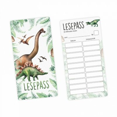 Lesepass Dinosaurier Lesezeichen zum lesen üben Grundschule  10-100 Stück Lesezeichen bunt