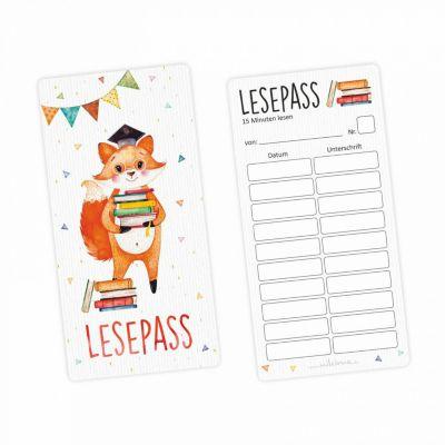 Lesepass Schlaufuchs Lesezeichen zum lesen üben Grundschule 10-100 Stück Lesezeichen bunt