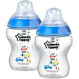 """Бутылочки для кормления Tommee Tippee """"Closer to Nature"""" с антиколиковым клапаном, 260 мл, 2 шт., синяя"""