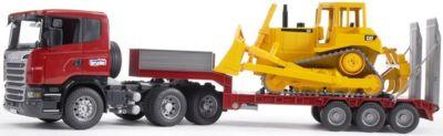 BRUDER 03555 Scania Tieflader mit CAT-Bulldozer