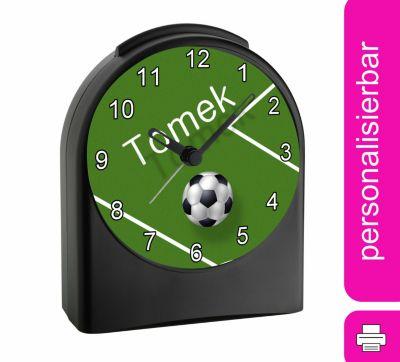 Kinder Funkwecker personalisiert mit Namen Fußball Atom-/Funkuhr, 12-Stunden-Anzeigeformat, Schlummerfunktion, Nachtlicht, Geräuschlos/Ohne Ticken, CreaDesign