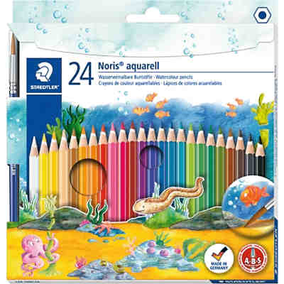 NORIS Club AquarellBuntstifte, 24 Farben, inkl. Pinsel