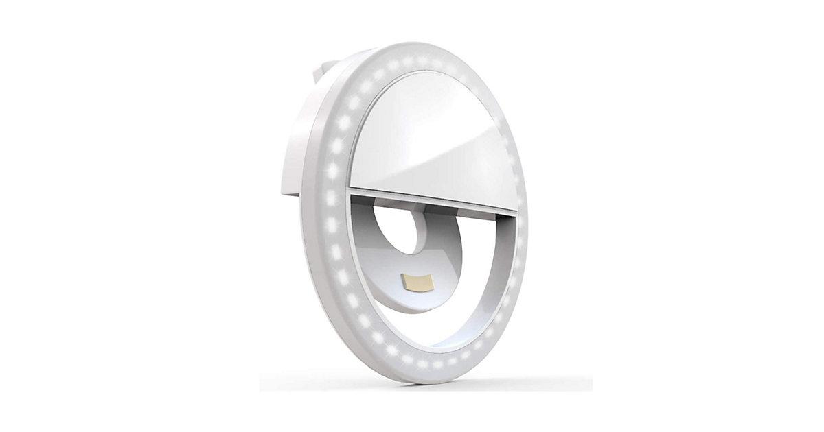 DIGIPOWER Smartphone-Ringlicht mit Bluetooth-Fernbedienung, 28 LED-Leuchten, 3 Helligkeitsstufen, Selfie Light kompatibel mit iOS & Android Handys, wiederaufladbarer Batterie CLIP-ON SELFIE LIGHT weiß  Kinder