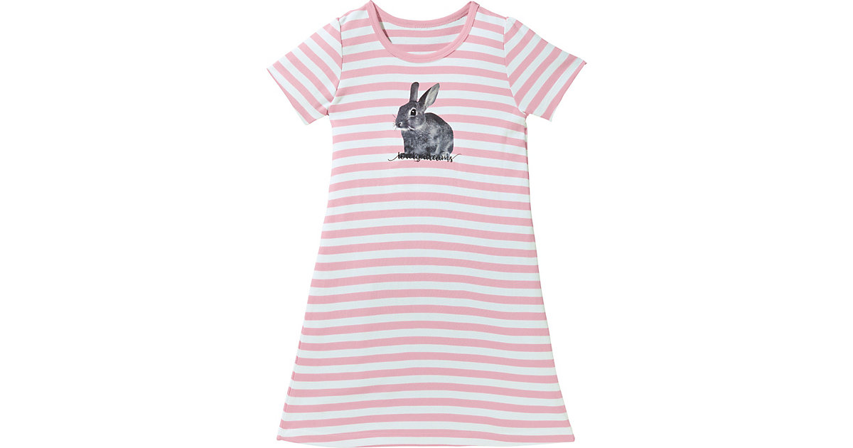 Kinder-Nachthemd Single-Jersey, gestrickter Ringel rosa/weiß Gr. 74/80 Mädchen Kinder
