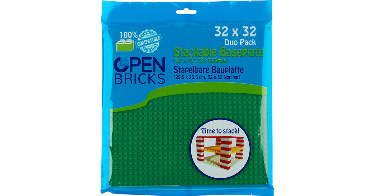 Open Bricks stapelbare Bauplatte 32x32 green 2er Set stapelbare Bauplatten - LEGO®-kompatibel grün