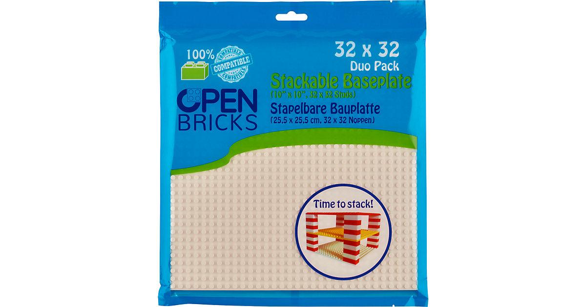 Open Bricks stapelbare Bauplatte 32x32 white 2er Set stapelbare Bauplatten - LEGO®-kompatibel weiß