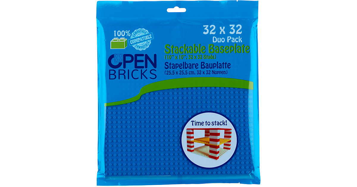 Open Bricks stapelbare Bauplatte 32x32 blue 2er Set stapelbare Bauplatten - LEGO®-kompatibel blau