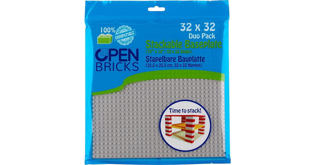 Open Bricks stapelbare Bauplatte 32x32 light grey 2er Set stapelbare Bauplatten - LEGO®-kompatibel hellgrau