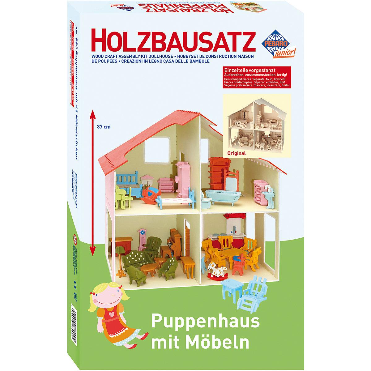 holzbausatz puppenhaus inkl m bel ber 40 teile pebaro mytoys. Black Bedroom Furniture Sets. Home Design Ideas