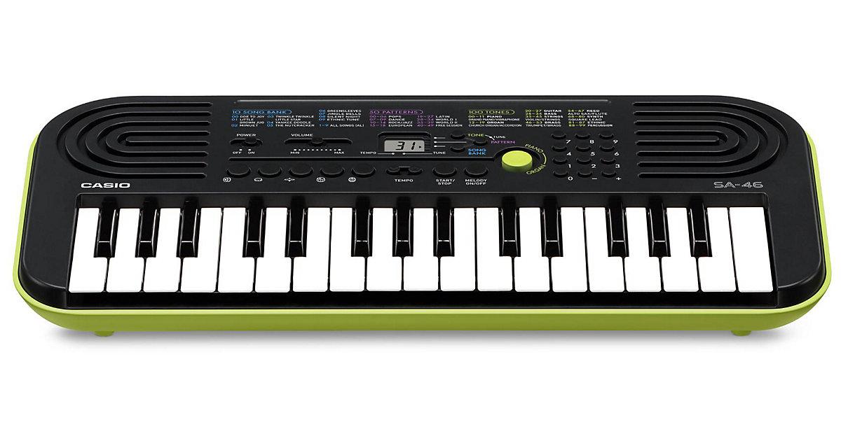 CASIO SA-46 Keyboard schwarz, Unterseite grün-g...