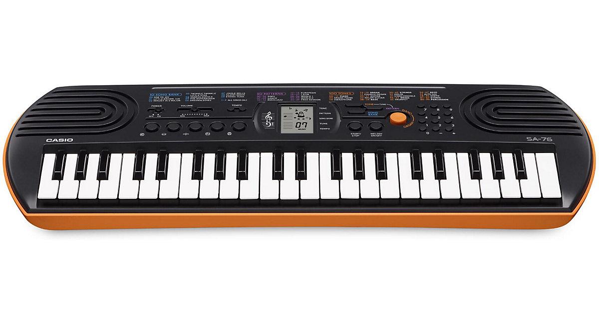 CASIO SA-76 Keyboard schwarz, Unterseite rot-or...