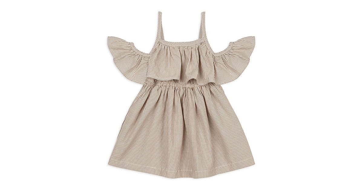 Kleider - mit Schulterdetail -  beige Gr. 56/62 Mädchen Kinder