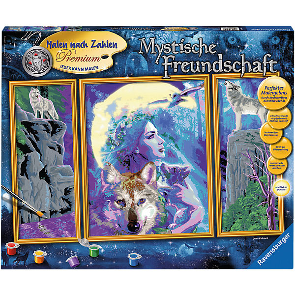 Malen Nach Zahlen Premium Triptychon 80x50 Cm Mit Bilderfirnis Leuchtfarbe Mystische Freundschaft Ravensburger