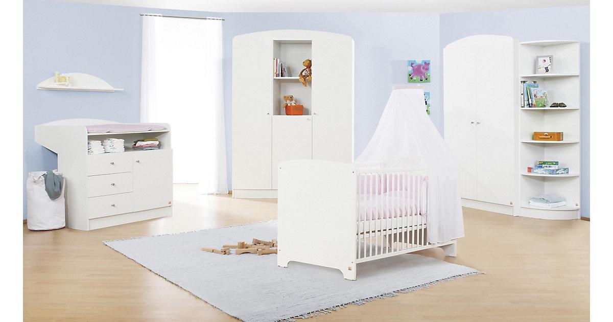 Komplett Kinderzimmer JIL, 3-tlg. (Kinderbett, Wickelkommode und 3-türiger Kleiderschrank), Kiefer/Weiß lackiert Gr. 70