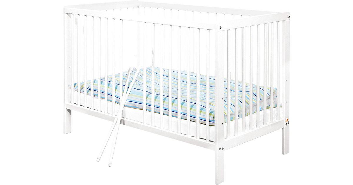 Kinderbett LENNY, Kiefer massiv/Weiß lackiert 60 x 120 cm weiß