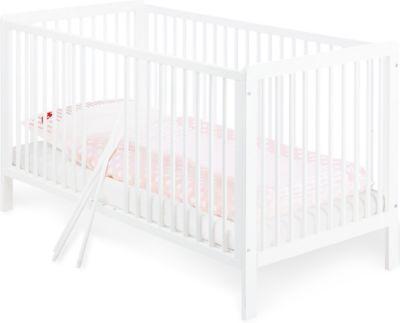 Kinderbett LENNY, Kiefer massiv weiß lackiert, 70 x 140 cm