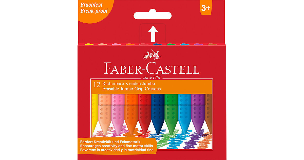 Dreikant-Wachsmalkreiden JUMBO GRIP radierbar, 12 Farben