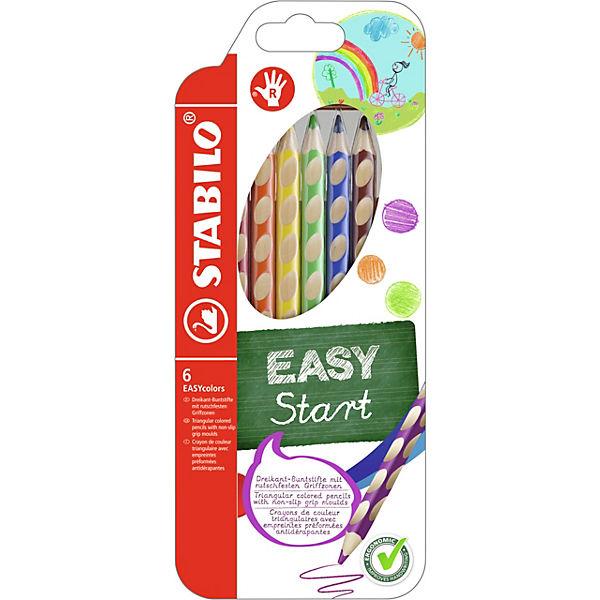 Набор цветных карандашей для правшей, 6 цв., EASYCOLORS