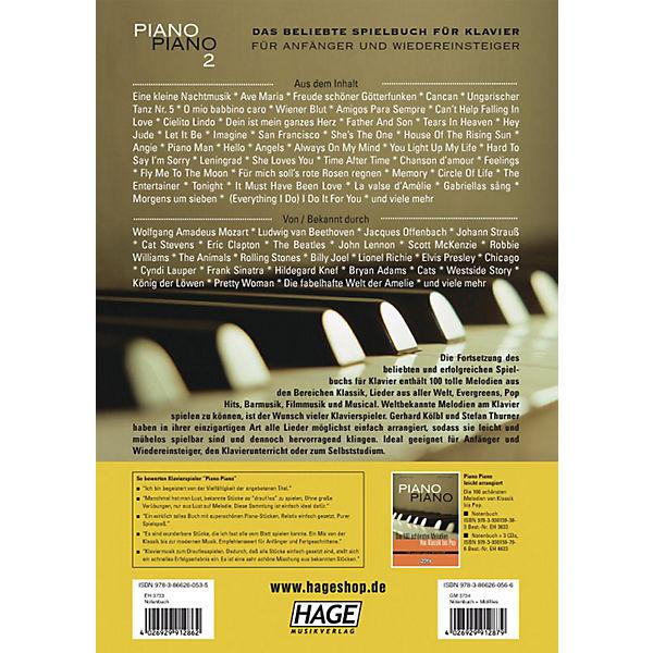 Piano Piano 2 - Die 100 schönsten Melodien von Klassik bis Pop, leicht arrangiert, Gerhard Kölbl, Stefan Thurner J1pboc