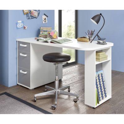 Schreibtisch Kinder- und Jugendzimmer YUMA-78 in weiß mit Arktisgrau, B/H/T: ca. 140/74/70 cm  Kinder