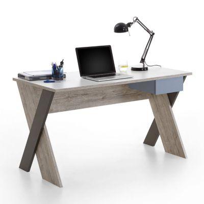 Schreibtisch LEEDS-10 Sandeiche Nb./weiß/Lava/Denim, B x H x T ca. 135 x 76,4 x 67,5 cm grau