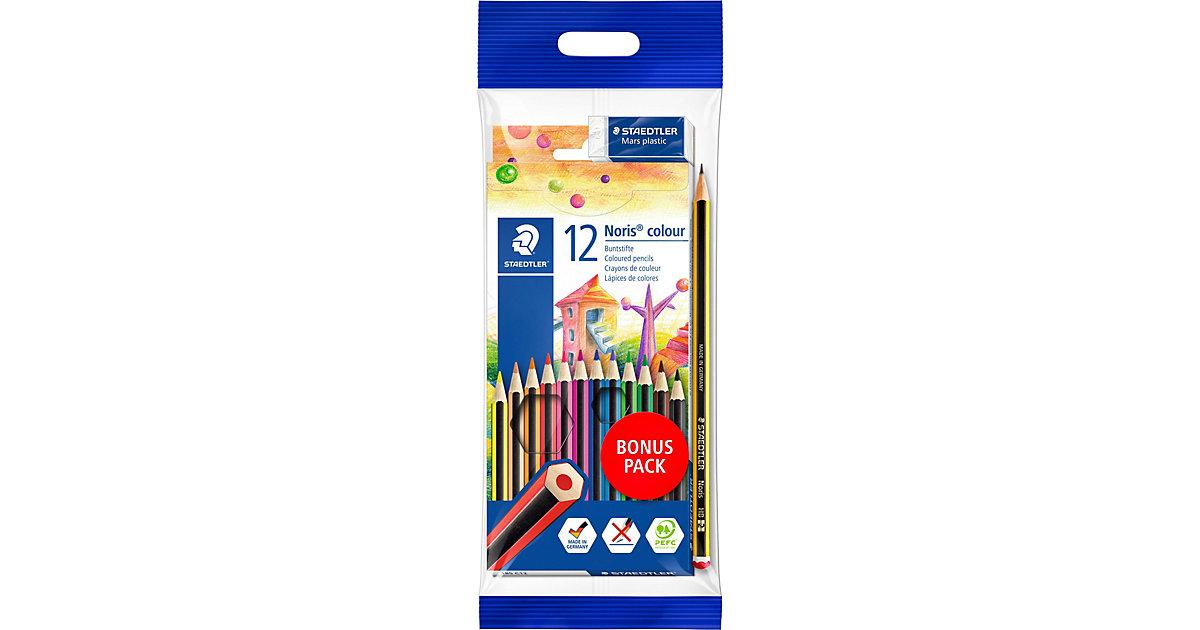 NORIS 6-Kant-Buntstifte, 12 Farben, inkl. Bleistift & Radierer