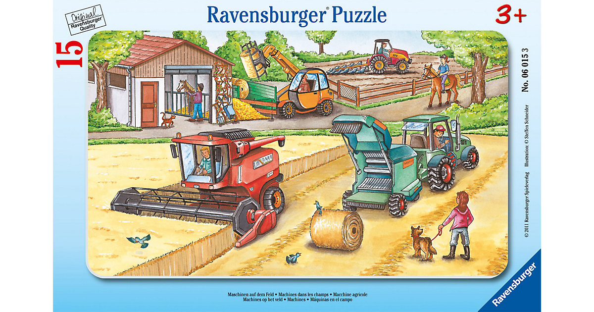 Maschinen auf dem Feld - 15 Teile Rahmenpuzzle
