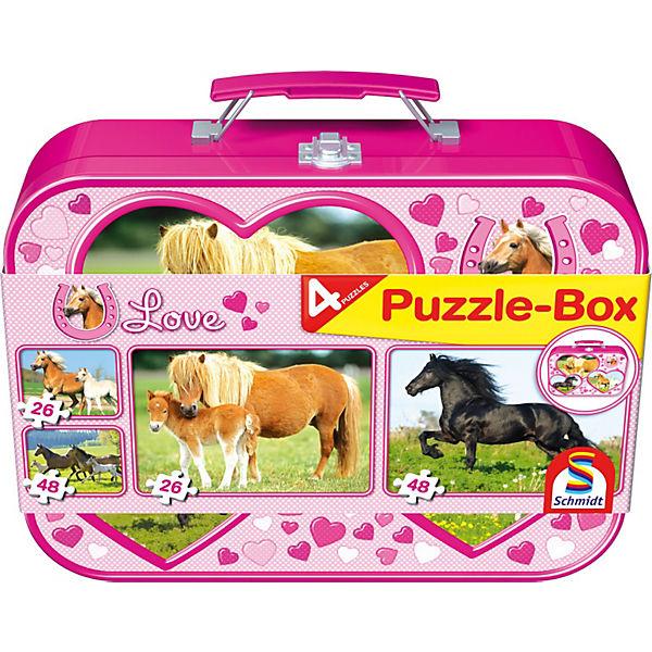 Pferde, Puzzle-Box 2x26, 2x48 Teile im Metallkoffer, Schmidt Spiele