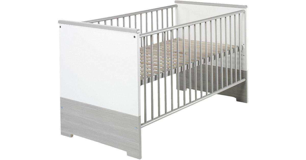 Kinderbett ECO SILBER, Pinie silberfarbig/weiß, 70 x 140 cm grau