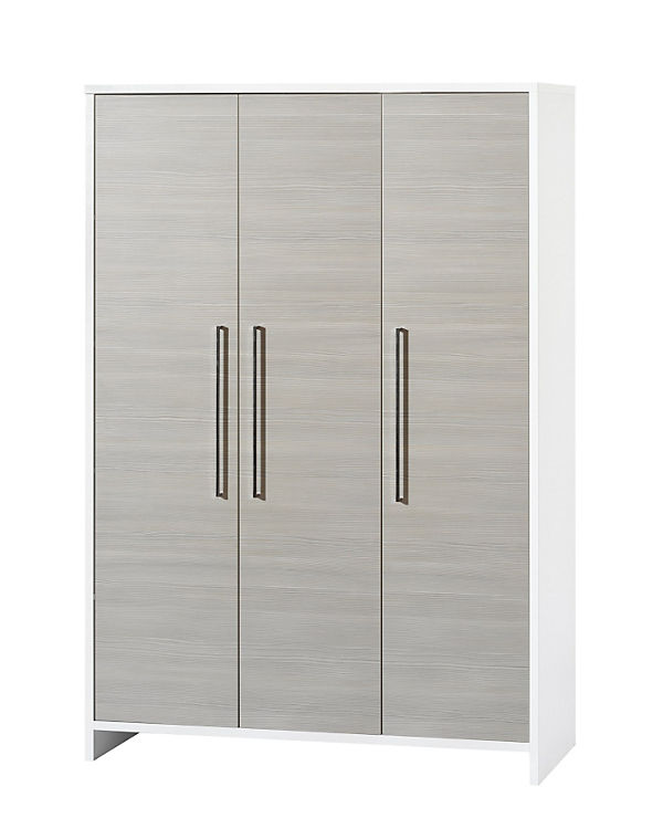 Kleiderschrank Eco Silber Pinie Silberfarbig Weiß 3 Türig Schardt