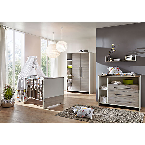 komplett kinderzimmer eco silber 3 tlg kinderbett wickelkommode und 2 t riger kleiderschrank. Black Bedroom Furniture Sets. Home Design Ideas