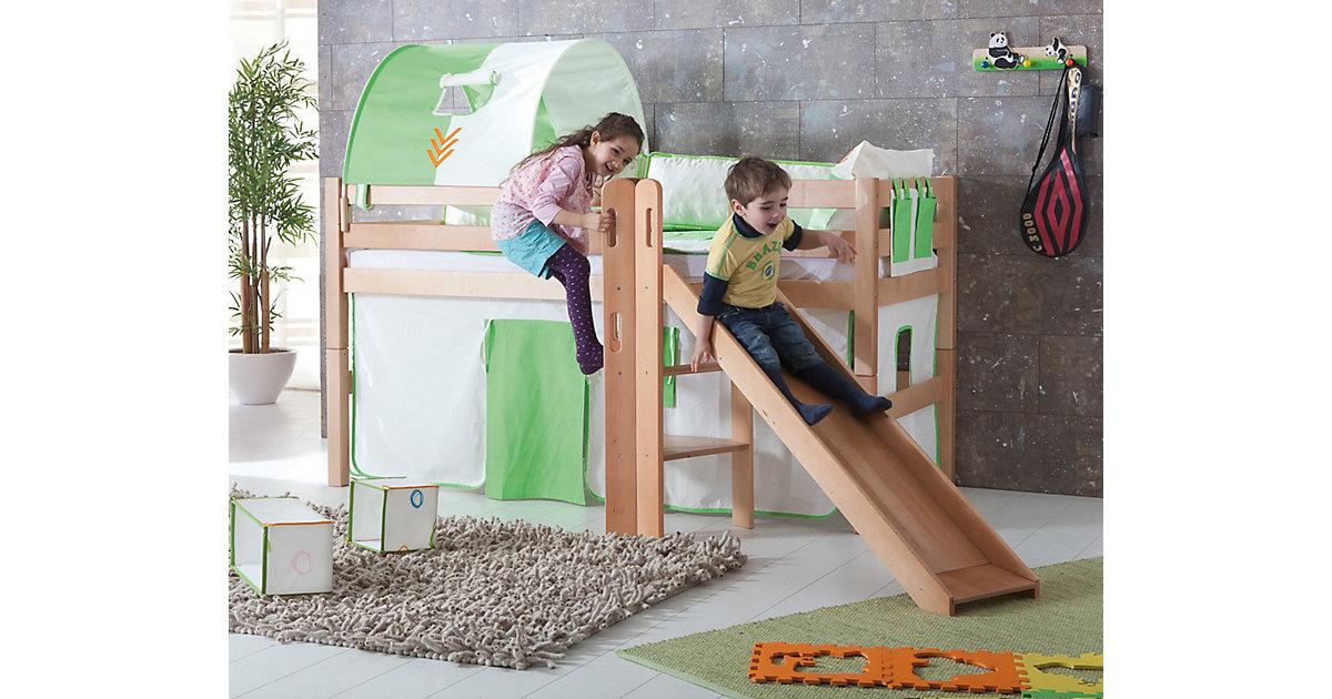Spielbett ELIYAS mit Rutsche, Buche massiv, natur lackiert, 90 x 200 cm holzfarben