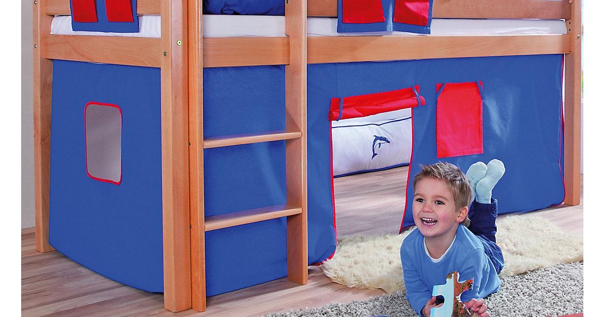 Vorhangset Spielbett ELIYAS und ALEX (ohne Rutsche), blau/rot Kinder