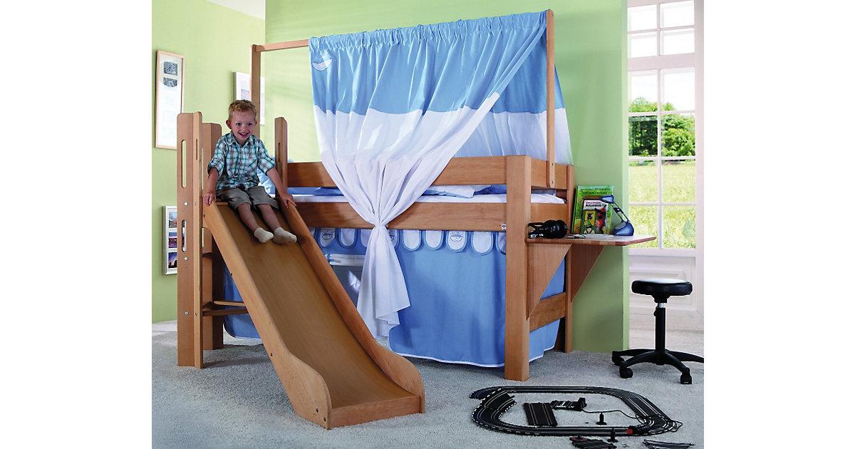 Spielbett LEO mit Rutsche, Buche massiv, geölt 90 x 200 cm holzfarben