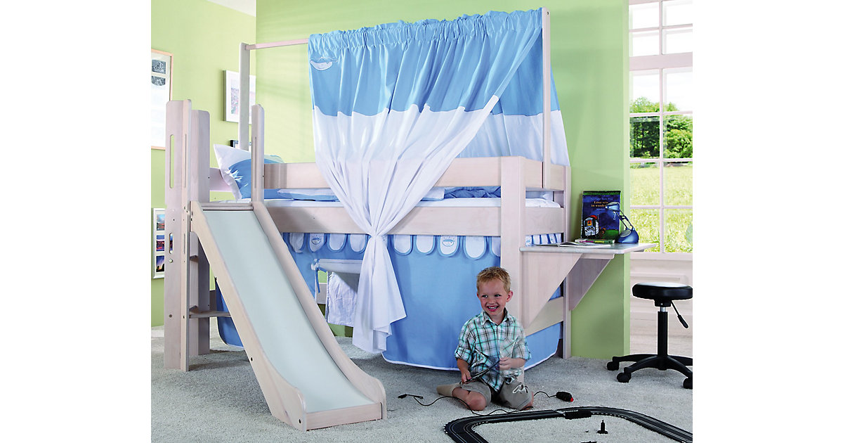 Spielbett LEO mit Rutsche, Buche massiv, weiß wash, 90 x 200 cm