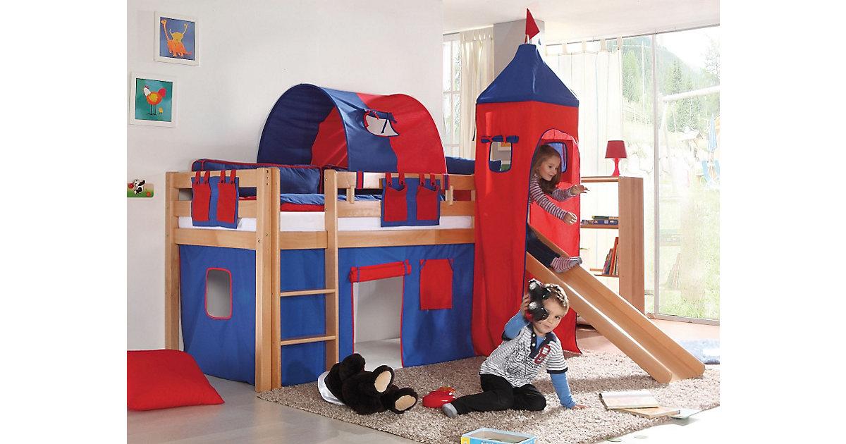 Spielbett ALEX mit Rutsche & Turm, Buche massiv, natur, 90 x 200 cm holzfarben