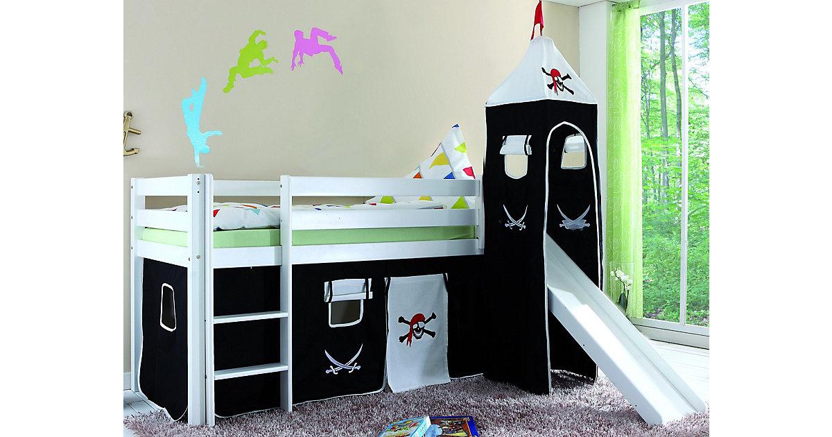 Spielbett ALEX mit Rutsche & Turm, Buche massiv, weiß, 90 x 200 cm
