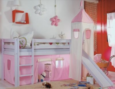 Etagenbett Spielbett Alex : Vorhangset für spielbett kim alex mit turm rosa weiß relita