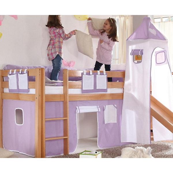 vorhangset f r spielbett kim alex mit turm lila wei herz relita mytoys. Black Bedroom Furniture Sets. Home Design Ideas