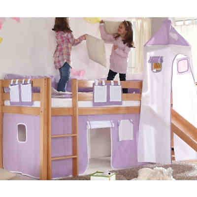 spielbett mit turm kenny g kiefer massiv wei rosa pink ticaa mytoys. Black Bedroom Furniture Sets. Home Design Ideas